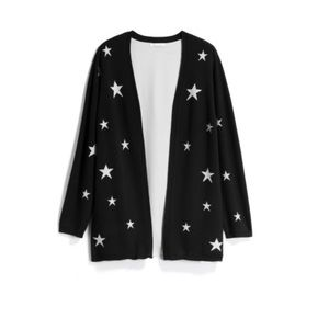 Skies are blue blank and white stars cardigan  1X